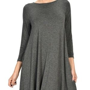 Hourglass Lily 3/4 sleeve Swing Dress with Pockets